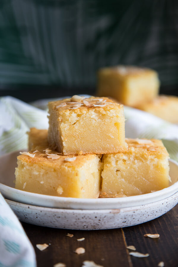 A stack of Hawaiian Butter Mochi on a plate