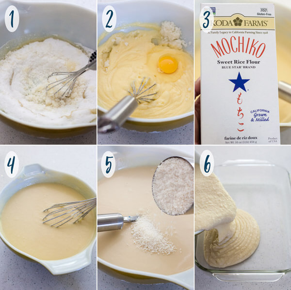 Making Hawaiian Butter Mochi in a mixing bowl