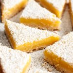 Lemon Bars with Shortbread Crust dusted with powder sugar