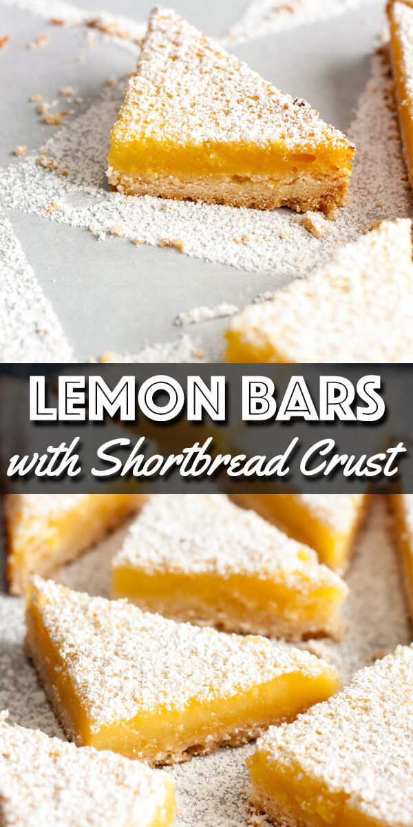 These refreshing Lemon Bars with Shortbread Crust are made with a creamy and tangy lemon custard filling baked on top of a buttery shortbread crust. | wildwildwhisk.com #lemonbars #lemondessert