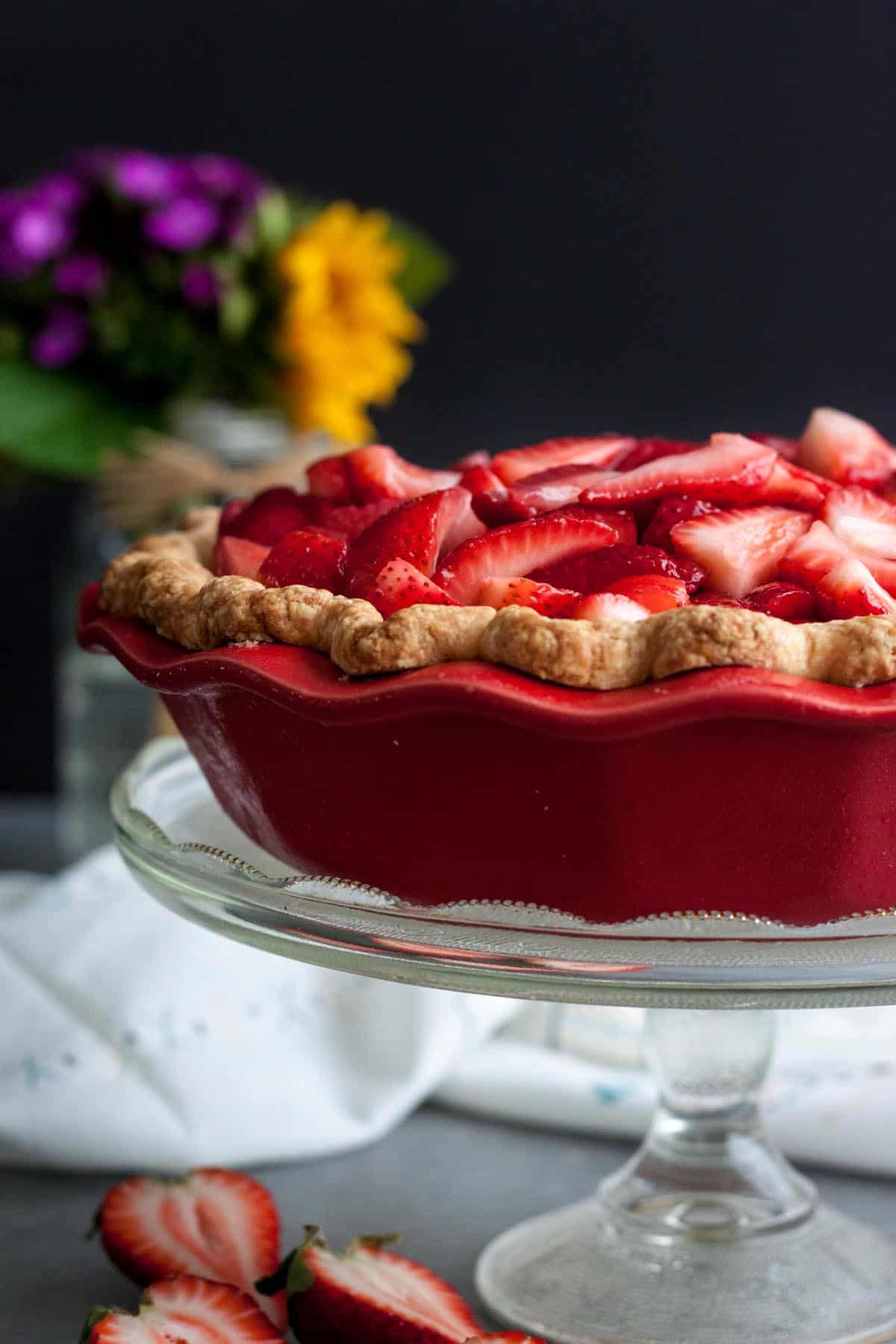 Strawberry and Cream Pie on a cake stand