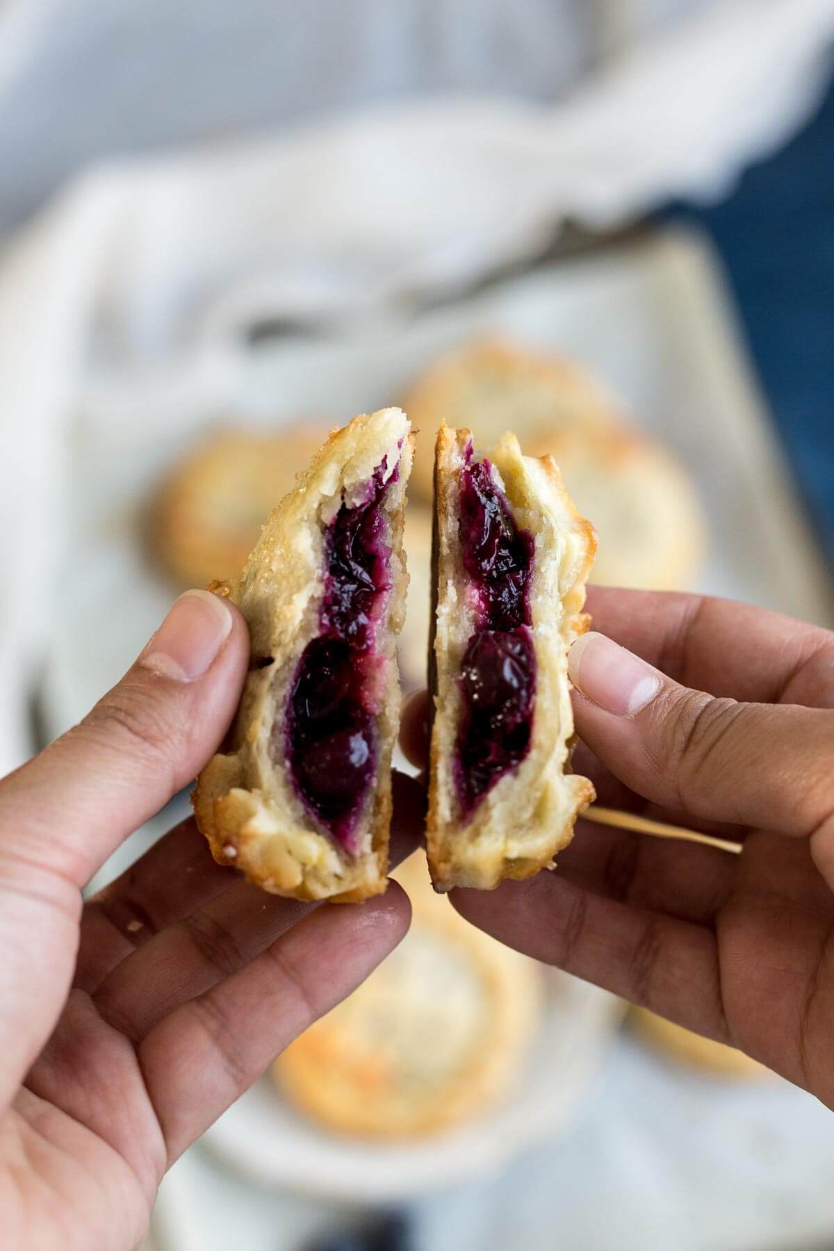 The inside of a baked Blueberry Lemon Hand Pie