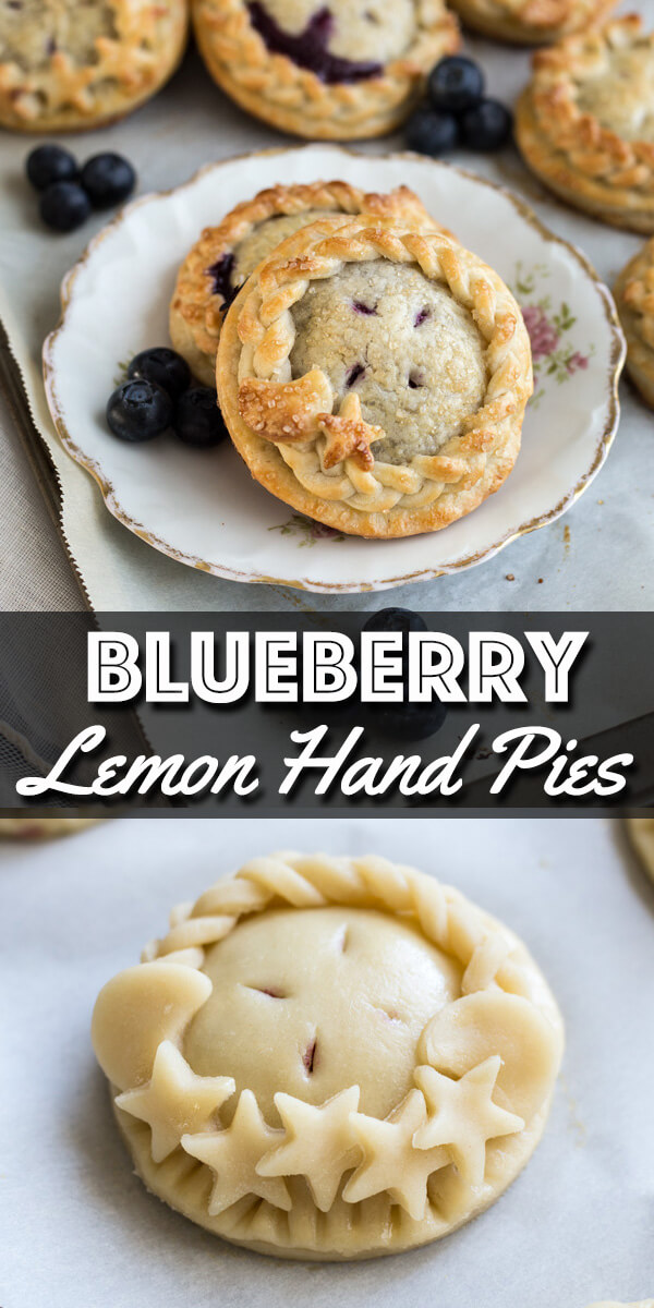 Blueberry and lemon come together in this recipe to bring you these perfectly sweet and tangy Blueberry Lemon Hand Pies. These little beauties can also be decorated to impress if desired. | wildwildwhisk.com #pie #handpies #blueberry #lemon