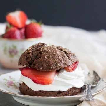 Chocolate Strawberry Shortcakes on a plate