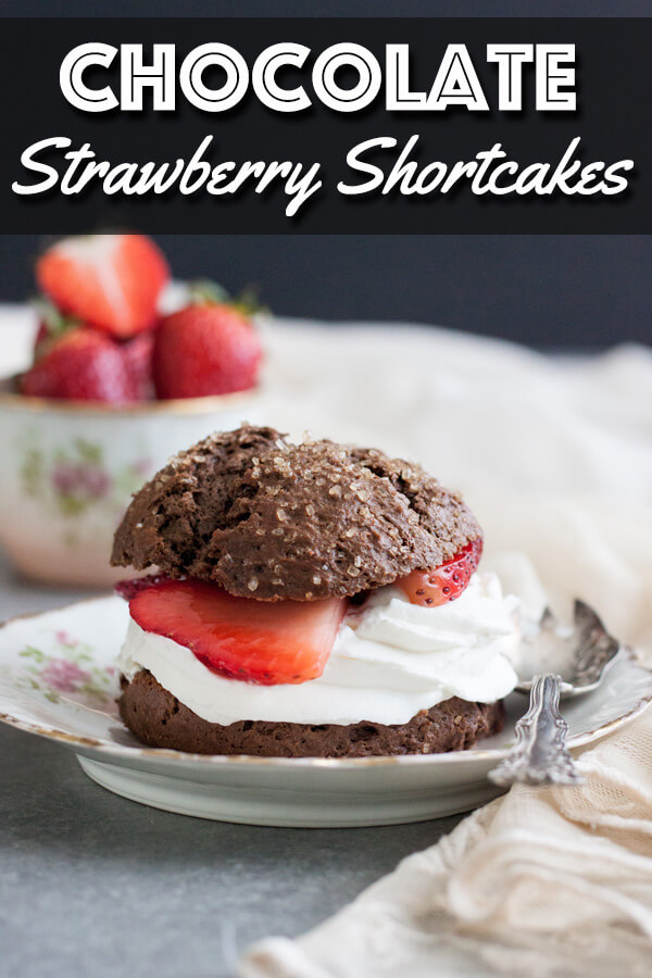 These Chocolate Strawberry Shortcakes are the perfect portion of dessert. Every bite is filled with scrumptious chocolate biscuits, fluffy whipped cream and sweet juicy strawberries. | wildwildwhisk.com #strawberryshortcakes #chocolateshortcakes #chocolatebiscuits