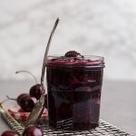 Easy Cherry Compote in a jar