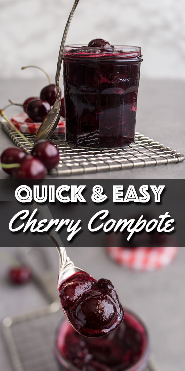 This quick and easy Cherry Compote takes almost no time to cook and is the perfect topping to spread over ice cream, cheesecake, even oatmeal. It's a great way to preserve those sweet summer cherries for another day. | wildwildwhisk.com #cherry #cherrycompote #cherrysauce