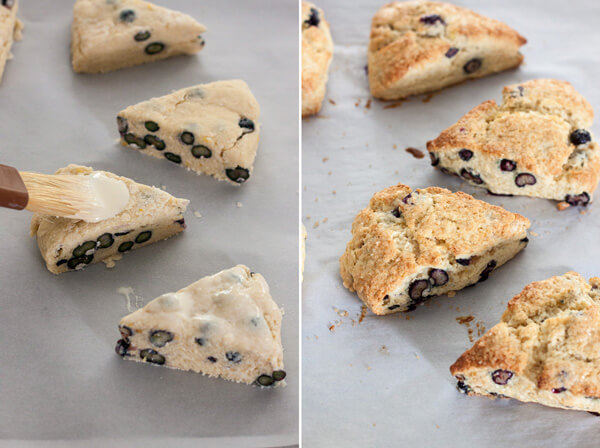 Preparing Lemon Blueberry Cream Scones for baking