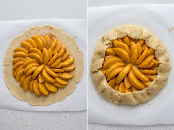 Added sliced peaches to pie dough for Peach Crostata or Peach Galette