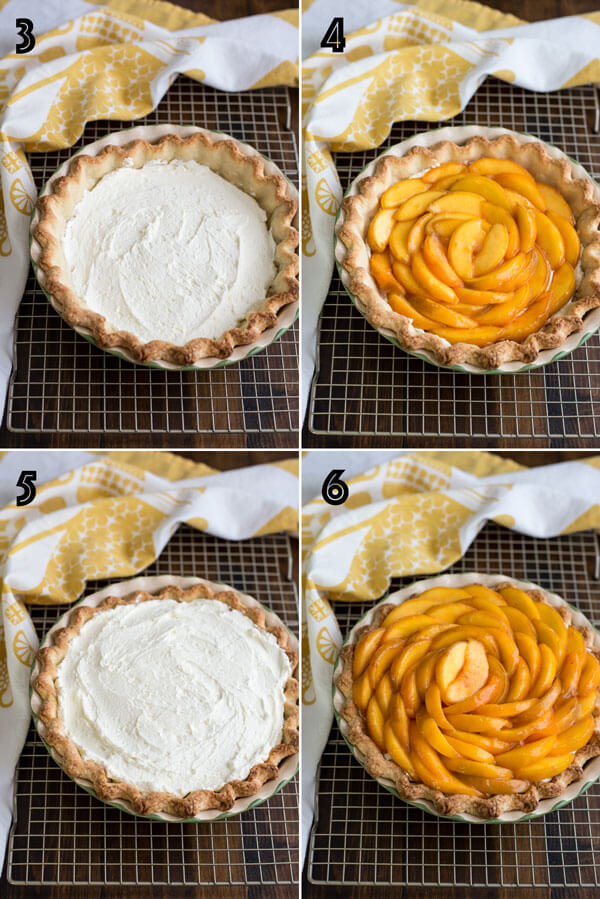 Adding the peach pie filling to the baked pie shell