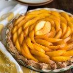 Peaches and Cream Pie in a pie dish
