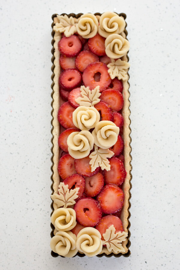Assembled Strawberry Rose Tart ready for the oven
