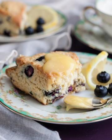 Lemon Blueberry Cream Scones with homemade Lemon Curd