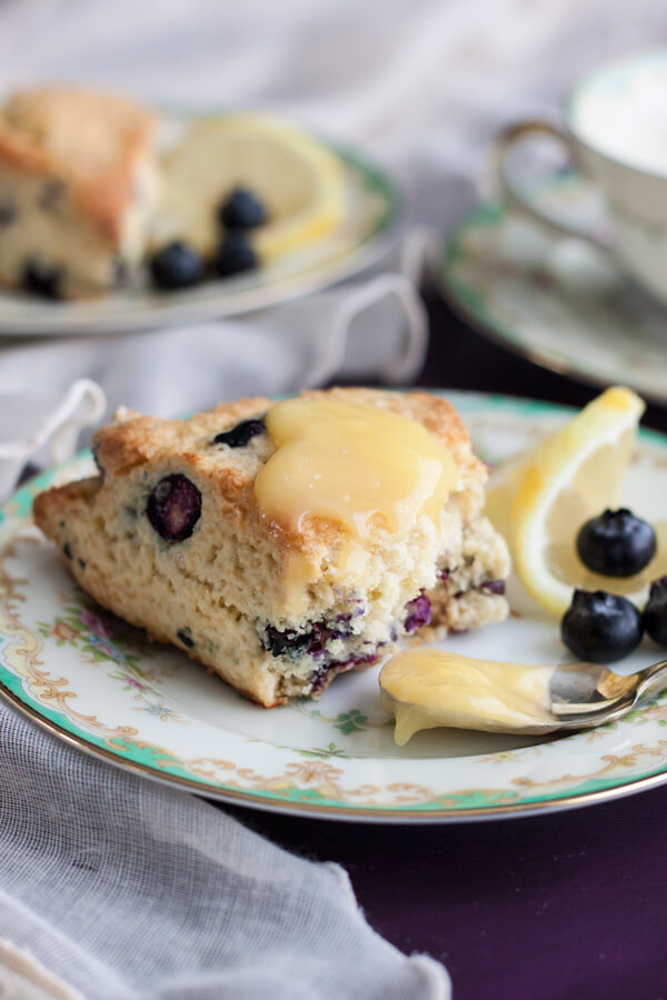 Lemon Blueberry Cream Scones with homemade Lemon Curd