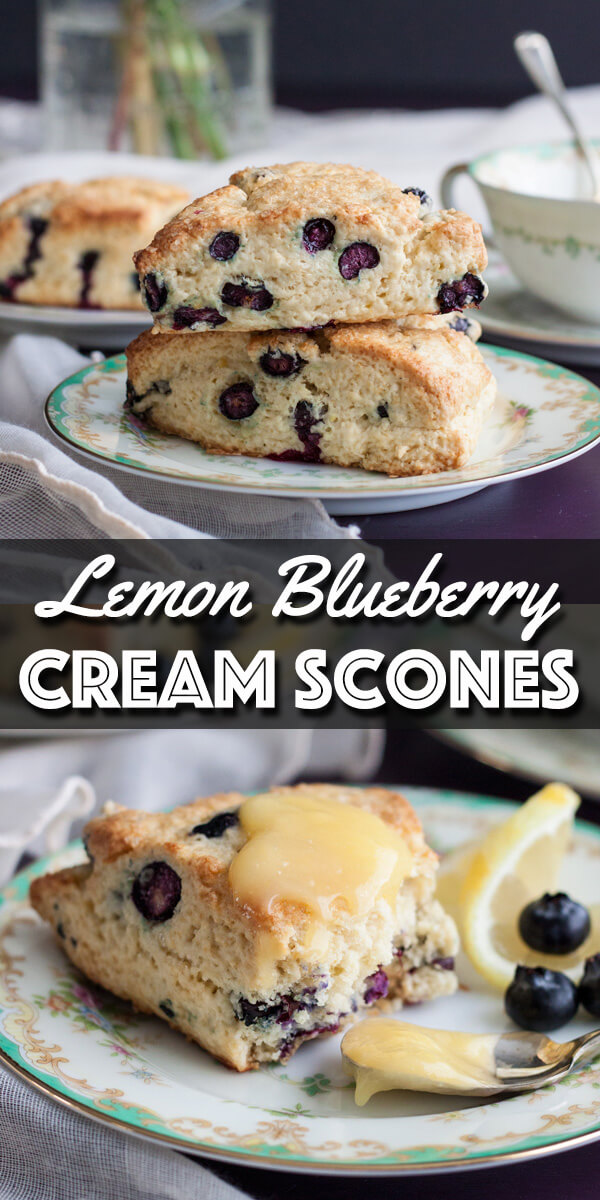 These Lemon Blueberry Cream Scones are refreshing and filled with juicy fresh blueberries. Tender and flaky, they will not disappoint. | wildwildwhisk.com #lemon #blueberry #scones