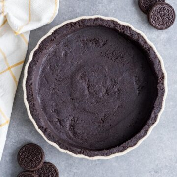 Oreo Cookie Pie Crust in a tart pan
