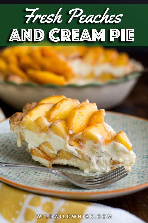 This Peaches and Cream Pie is made with an all-butter pie crust, filled with a mascarpone and whipped cream mixture, along with juicy fresh peaches. | wildwildwhisk.com #peach #peachandcream #pie #creampie