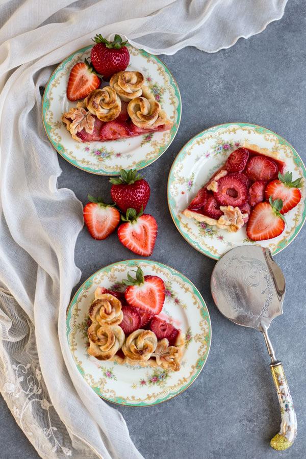 Strawberry Rose Tart slices on plates