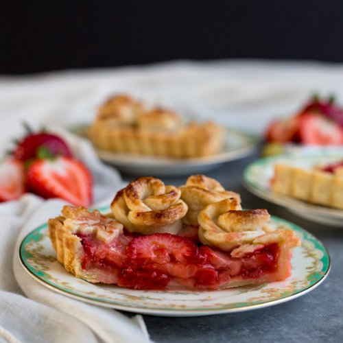 Strawberry Rose Tart slices on plates