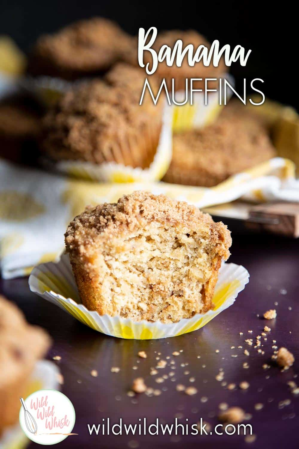 These Banana Nut Muffins with granola streusel are packed with good for you ingredients, whole wheat and dairy free. #sponsored by @Silk #muffins #bananamuffins #banananutmuffins