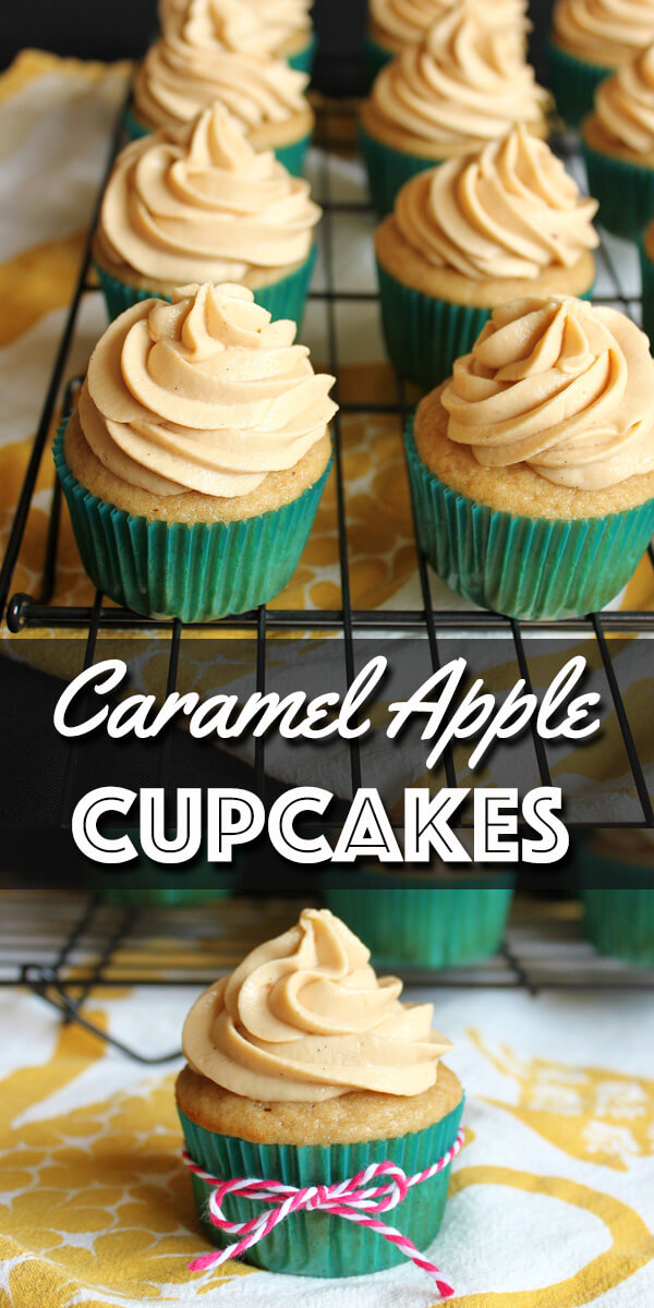 These Caramel Apple Cupcakes are the perfect treats for Autumn, and a twist on the beloved caramel apples. The sticky homemade Dulce de Leche filling gives them an extra special touch.  | wildwildwhisk.com #apple #caramelapple #dulcedeleche #cupcakes