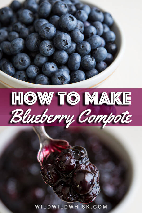 A quick and simple Blueberry Compote with a hint of lemon is the perfect topping for pancakes, waffles, and even ice cream. | wildwildwhisk.com #blueberry #compote #sauce