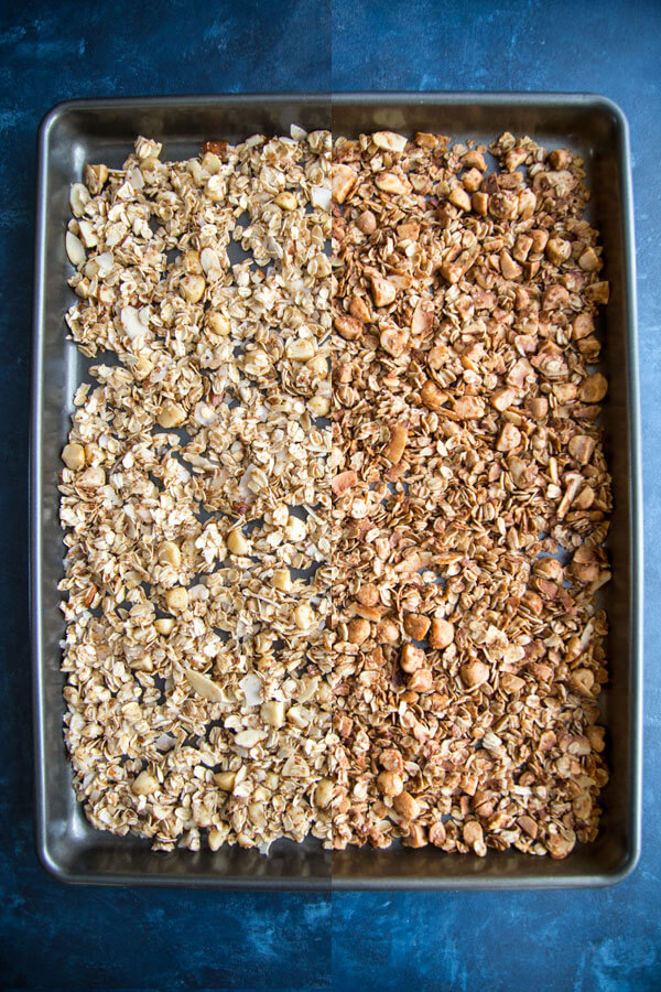 Surfer Granola - uncooked vs. cooked