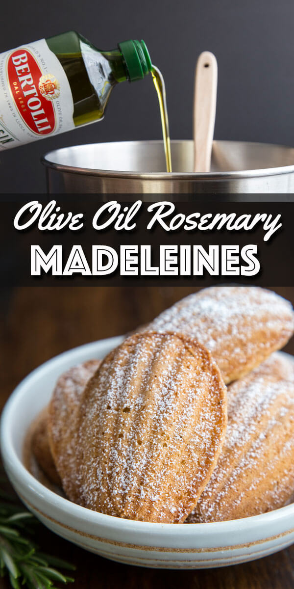 These Olive Oil Rosemary Madeleines are nothing short of out of this world. They are light and soft, with a subtle note of rosemary at the end. #sponsored by @bertolli #madeleines #oliveoil #rosemary
