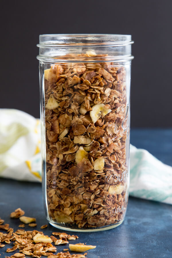 Surfer Granola in a tall jar