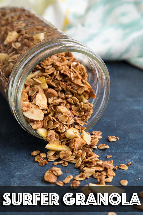 This mix of Surfer Granola brings you the island vibe with three types of coconut (coconut flakes, coconut sugar and oil) macadamia nuts and banana chips. | wildwildwhisk.com #granola #homemadegranola