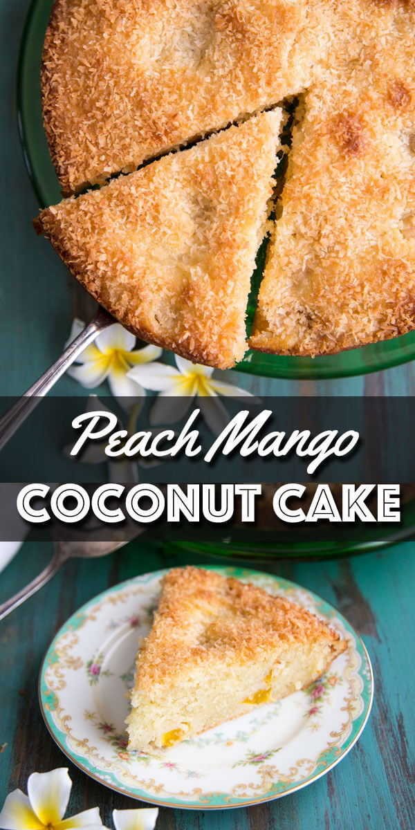 This Tropical Peach Mango Coconut Cake is like sunshine on a plate. It is the tropical version of a coffee cake that's perfect with a cup of coconut flavor coffee and also delicious topped with ice cream for a sweet night cap. | wildwildwhisk.com #tropical #coconut #peach #mango #cake