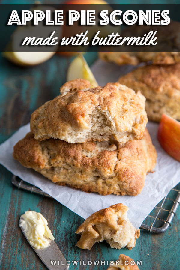 Apple Pie Scones made with buttermilk and fresh apple pieces lightly spiced with cinnamon, nutmeg and cardamom. #wildwildwhisk #applescones #scones #buttermilkscones #applepie