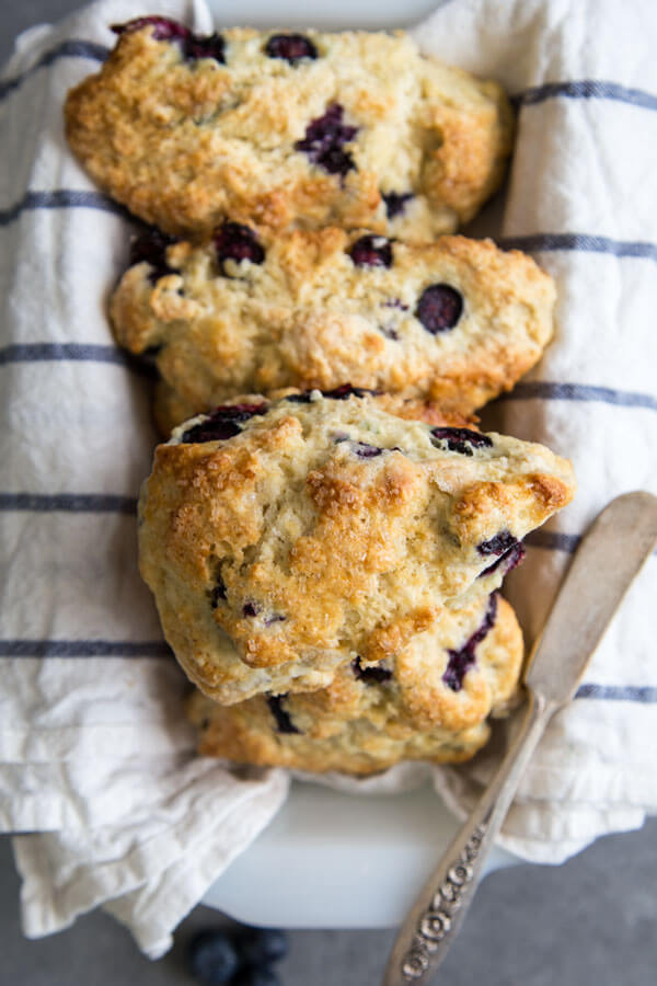 Blueberry scones in a container