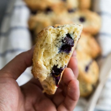 The inside of Blueberry scones