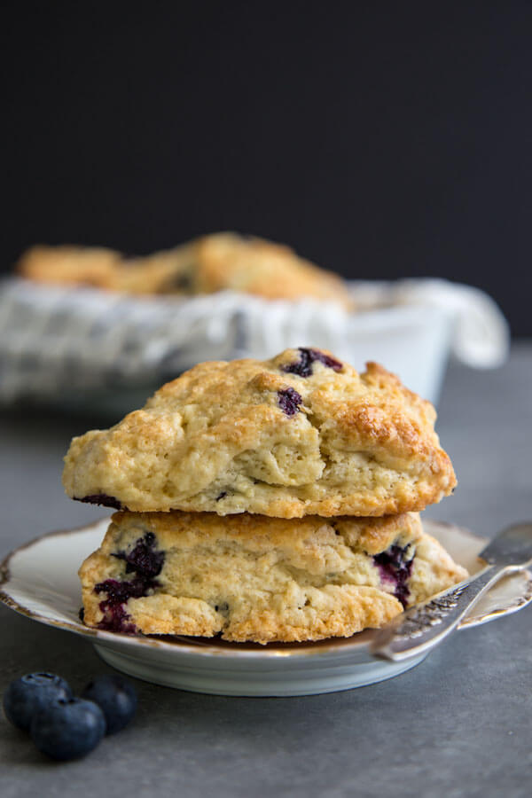 A stack of two blueberry scones