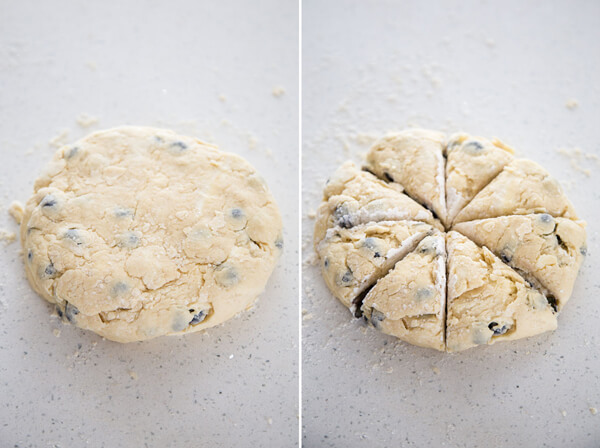 Blueberry scones dough