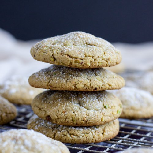 A stack of Pistachio Butter Cookies