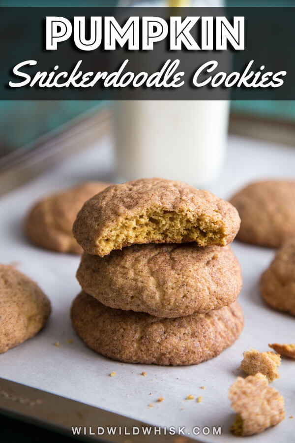 Pumpkin Snickerdoodle Cookies made with real pumpkin puree and lots of pumpkin pie spice are perfect for the Fall season. #wildwildwhisk #pumpkin #snickerdoodles #pumpkinsnickerdoodles #cookies