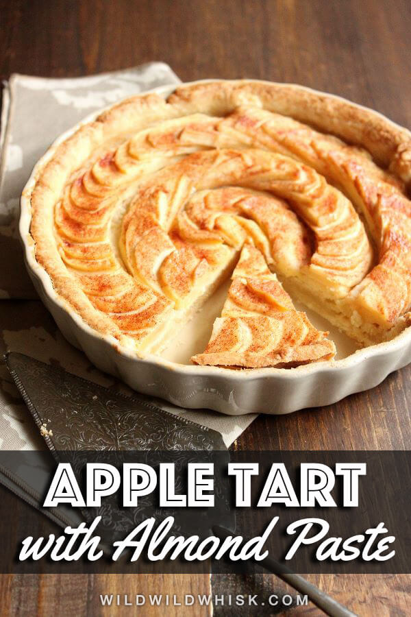 Easy Apple Tart recipe filled with homemade almond paste, a wonderful Fall dessert that's also perfect for the holidays. #wildwildwhisk #appletart #almondpaste #almond #apple