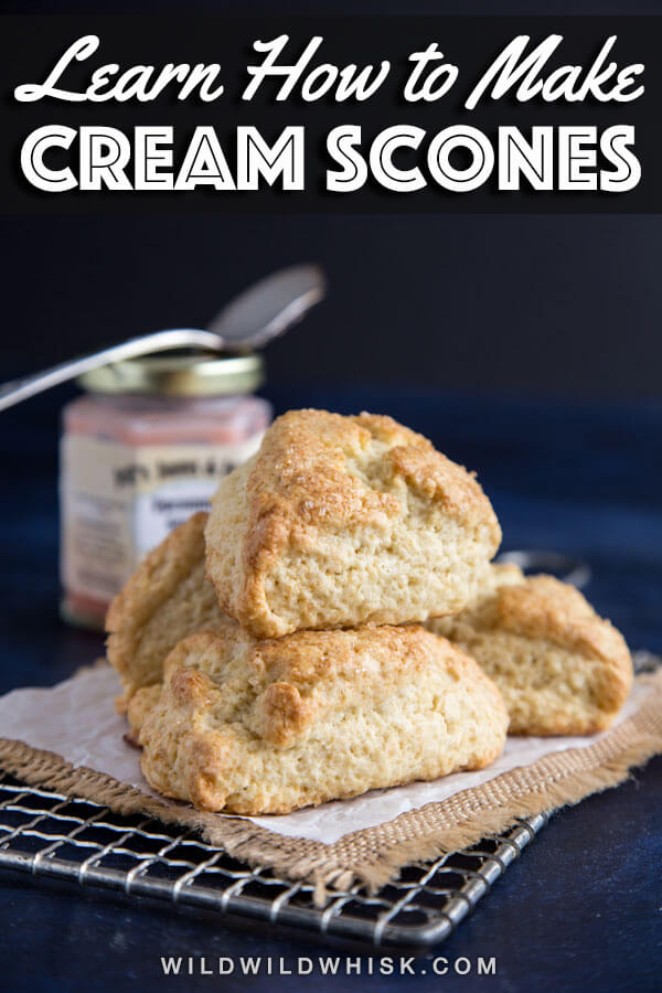 Basic Cream Scones made with heavy cream, easy and delicious with butter and jam, fruit butter or fruit compote. Perfect for brunch or tea time. #wildwildwhisk #creamscones #scones #brunchtime #teatime