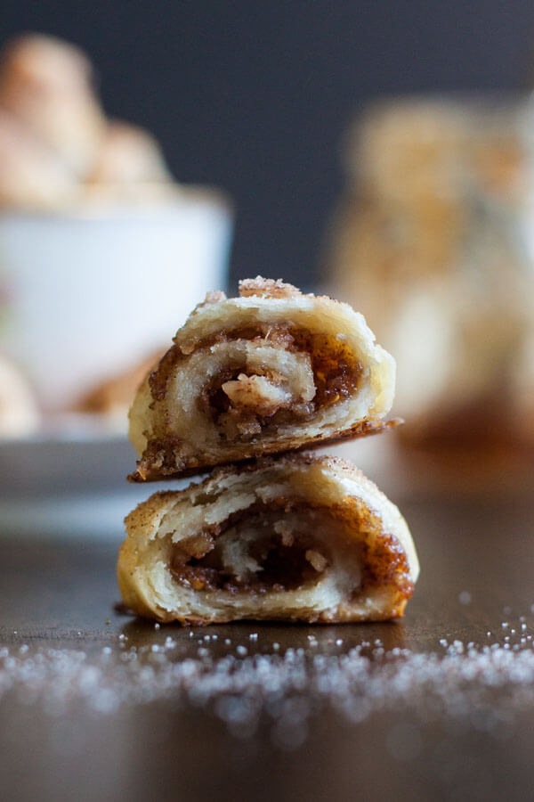 Cross section of Fig Jam and Walnut Rugelach