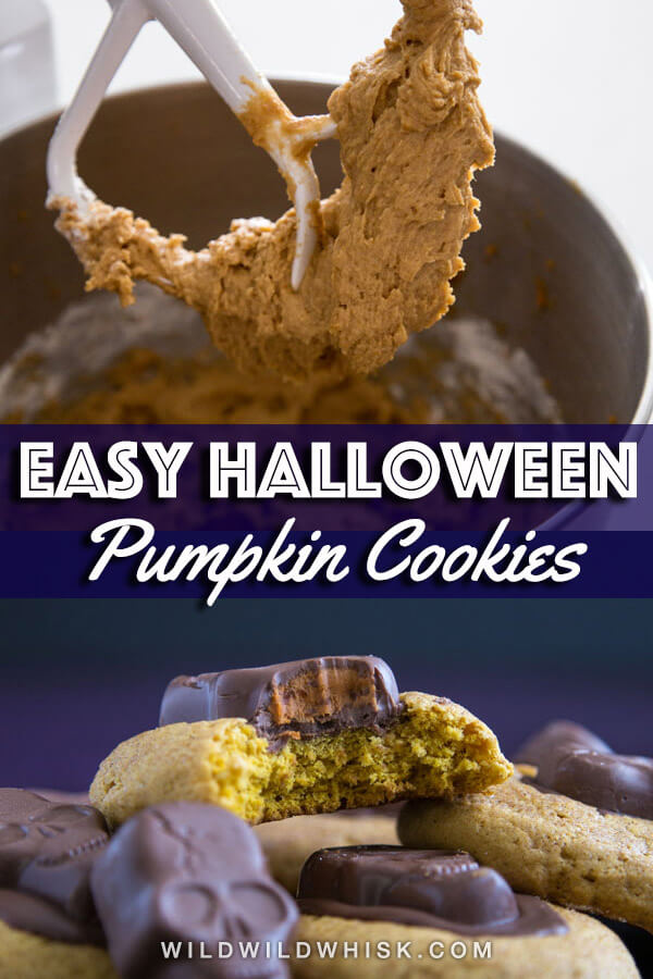 Get spooky with these easy Halloween Pumpkin Cookies adorned with a frightening Butterfinger peanut butter skull. You can also make them year round using regular peanut butter cup instead! #wildwildwhisk #ad #pumpkincookies