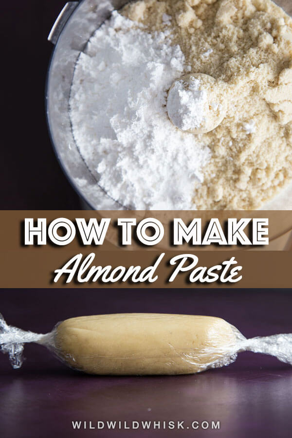How to make an easy and quick Homemade Almond Paste to use as delicious filling in a variety of baked goods. #wildwildwhisk #almondpaste #almond #almondfilling