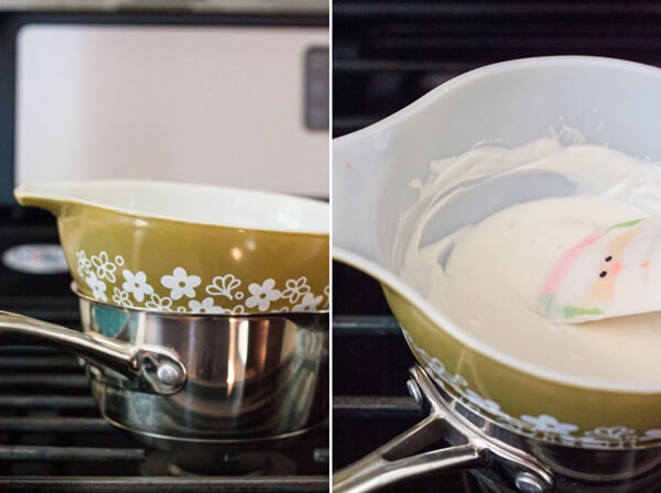 How to make White Chocolate Pistachio Truffles - melting white chocolate in a makeshift double boiler