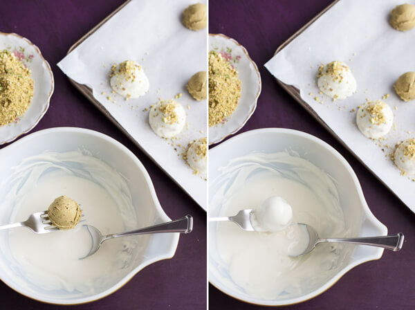 How to make White Chocolate Pistachio Truffles - covering the truffle center with melted white chocolate