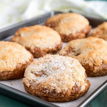 Macadamia Coconut Croissants on a baking tray