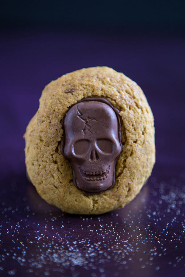 A soft Pumpkin Cookie with a Butterfinger Peanut Butter Skull