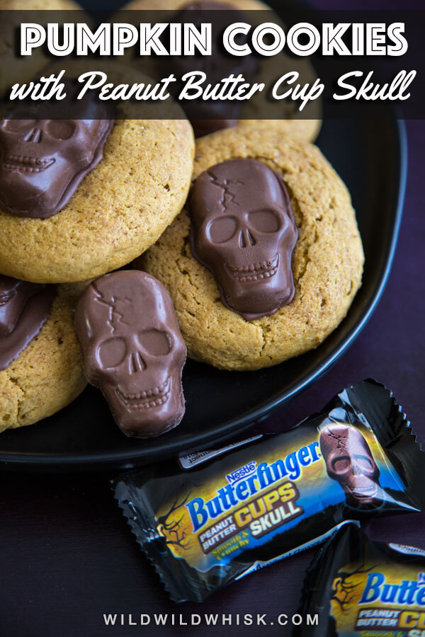 Spooky Peanut Butter Skull Pumpkin Cookies, made with BUTTERFINGER® Peanut Butter Cup Skulls, are the perfect Halloween treats. #sponsored by @Nestle #wildwildwhisk #easyhalloweencookies #pumpkincookies #softpumpkincookies