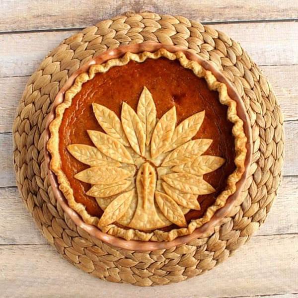 Thanksgiving dinner menu - Turkey crust pumpkin pie from Kudos Kitchen by Renee