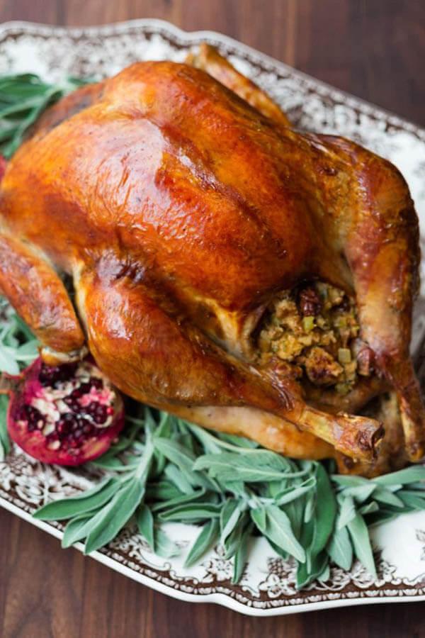 Thanksgiving dinner menu - Apple herb brined turkey from Striped Spatula